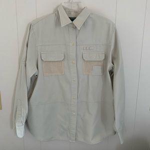 EUC  Lauren Ralph Lauren shirt - size L -light tan